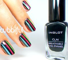 Nailpolis Museum of Nail Art | Neon Stripes Nails by Cubbiful