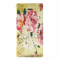Card Slot Side Flip Stand TPU + PU Leather Case for iPhone 5S 5 - Flowers in Bloom