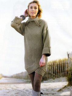 Теплое платье спицами с отворотами - Портал рукоделия и моды