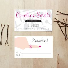Hair stylist business cards with appointment reminder on the back. Might be a bit too girly for the guys, but I like the idea of this! Cosmetology Graduation, Hairstylist Business Cards, 10 Points, Dream Nails, Nail Bar, Salon Ideas, Hair Studio, Nail Tech, Business Card Design