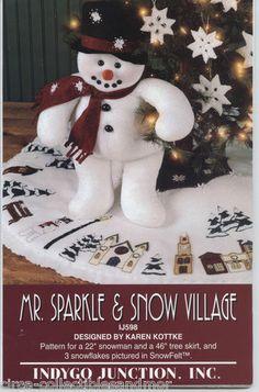 "Snowman Sew Pattern Mr Sparkle & Snow Village 46"" Tree Skirt Snowflake Ornaments"