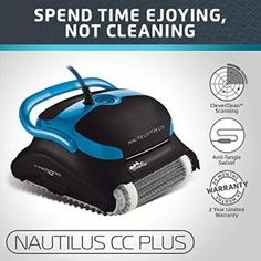 Dolphin Nautilus CC Plus Automatic Robotic Pool Cleaner with Easy to Clean Large Top Load Filter Cartridges and Tangle-Free Swivel Cord, Ideal for In-ground Swimming Pools up to 50 Feet. Best Robotic Pool Cleaner, Best Automatic Pool Cleaner, Pool Vacuum Cleaner, Vacuum Cleaners, Nautilus, Swimming Pool Cleaners, Swimming Pools, Best Pool Vacuum, Pool Maintenance
