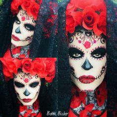 Day3 of my #31daysofhalloween #halloween #halloweenmakeup #halloweenmakeupideas  #facepainting #bodypainting #sugarskull #skull #dayofthedead #roses #beautiful #amazing #artist #bobbibicker #london