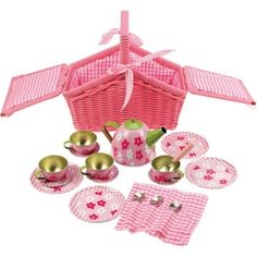 Tin Tea Set in Basket