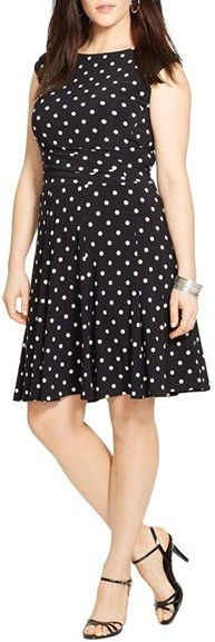 Lauren Ralph Lauren Cap Sleeve Polka Dot Jersey Fit & Flare Dress (Plus Size)