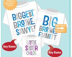Set of Three Biggest Brother, Big Brother Shirt, and Little Sister Shirts Personalized Tee or Onesie Pregnancy Announcement (06172015c)