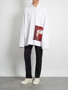 RAF SIMONS   Sweat-shirt à capuche en coton imprimé Calla Lily  461 €