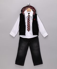 Take a look at this Black Prep Jeans Set - Toddler & Boys by College Boyys on #zulily today!