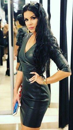 Tight Dresses, Sexy Dresses, Fashion Dresses, Girls Dresses, Prom Dresses, Leather Mini Dress, Leather Dresses, Sexy Outfits, Pretty Outfits