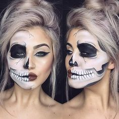 Hand if you want to try these cool skeleton makeup ideas for Halloween. At the start Hand if you want to try these cool skeleton makeup ideas for Halloween. At the start Visage Halloween, Maquillage Halloween Simple, Halloween Skull Makeup, Chic Halloween, Halloween Designs, Halloween Inspo, Halloween Tags, Halloween Makeup Looks, Different Halloween Costumes