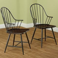 Simple Living Milo Black and Espresso Mixed Media Arm Chairs (Set of 2)   Overstock.com Shopping - The Best Deals on Dining Chairs