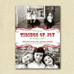 Tidings of Joy Photo Christmas Card, Christmas Card, Photo Christmas Card, DIY Printable Card, Printable Christmas Card, 2 Photo Card by MommiesInk on Etsy https://www.etsy.com/listing/86217340/tidings-of-joy-photo-christmas-card