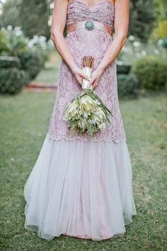 These are probably not the first shades that you think of for a wedding dress. But, pink wedding dresses are the latest trend. Pink Wedding Dresses, Bridal Dresses, Wedding Gowns, Wedding Bridesmaids, Protea Wedding, Wedding Bouquet, Dusty Pink Weddings, Bridal Style, Pretty Dresses