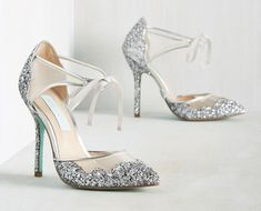 Beautiful silver wedding shoes as seen on @offbeatbride