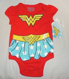 New Baby Girl Wonder Woman Sizes 3 thru 12 M Bodysuit Costume One Piece #Unbranded