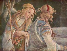 Le figlie di Ietro , tra cui Sefora la futura moglie di Mosè :  particolare de Le prove di Mose' ,1481-82 ,affresco 348,5x558 cm , Cappella Sistina , Vaticano , Roma .