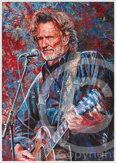 Country Musicians, Country Artists, Me And Bobby Mcgee, Kris Kristofferson, Art Deco Posters, Cartoon Sketches, Army Veteran, Willie Nelson, A Star Is Born