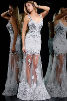 a35604a9a7 Surprisingly Hot Sheer Prom Gown Designs – Designers Outfits Collection  Lace Prom Gown