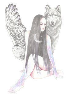 """Call her moonchild . Unique Drawings, Art Drawings, Wolves And Women, Gothic Fantasy Art, Wolf Wallpaper, Spirit Animal, Wolf Spirit, Wolf Love, Zen Art"