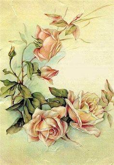 Vintage Roses by Images Vintage, Art Vintage, Vintage Pictures, Vintage Cards, Vintage Paper, Vintage Postcards, Vintage Prints, Art Floral, Floral Prints