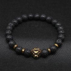 Antique Gold Plated Buddha Leo Lion Head Bracelet Black Lava Stone Beaded Bracelets