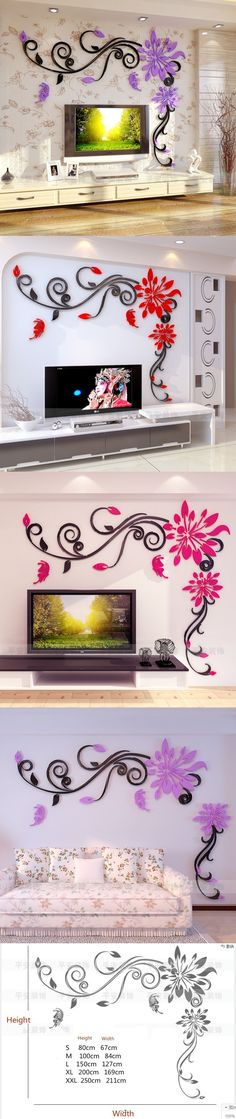 Acrylic crystal flower vine 3D wall stickers living room wall decoration Removable sticker Creative home decor tree butterfly $19.99
