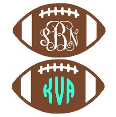 Football Monogram Decal by MonogramMadnessKayla on Etsy Silhouette Fonts, Silhouette Projects, Silhouette Studio, Silhouette Machine, Silhouette Design, Vinyl Monogram, Monogram T Shirts, Vinyl Projects, Vinyl Crafts