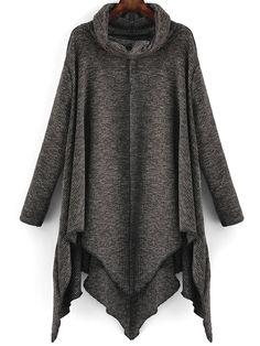 Shop Dark Grey High Neck Asymmetrical Loose Knitwear online. SheIn offers Dark Grey High Neck Asymmetrical Loose Knitwear & more to fit your fashionable needs.