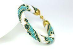 Bead crochet bracelet Turquoise bracelet Crochet by KittenUmka