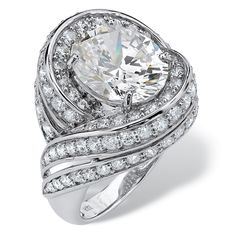 Palm Beach Jewelry PalmBeach 7.19 TCW Oval Cut Cubic Zirconia Swirl Cocktail Ring in Platinum over Sterling Silver Glam CZ (Size 6), Women's, White