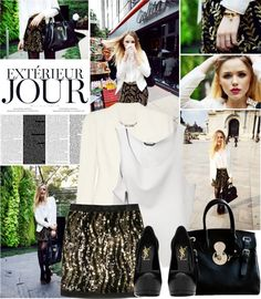 """""""black, gold and white"""" by shinystar ❤ liked on Polyvore"""