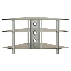 Create that pristine and oh so glam style with this versatile corner console in the living room, hosting accouterments in the dining room or acting as a grab-and-go station in the foyer. Corner convenient profile fits this matte silver TV stand into just about any place. Open media shelf features two cord control outlets to keep wires in line and double-door cabinet tidies your video game collection, DVDs or even extra blankets. Keep a burst of sunshine in your corner with this mirrored…