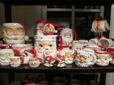 Fantastic Santa mug collection. Christmas China, Spode Christmas Tree, Cottage Christmas, Whimsical Christmas, Nutcracker Christmas, Christmas Figurines, Christmas Kitchen, Cozy Christmas, Vintage Christmas Cards