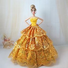 USD $ 8.99 - Barbie Doll Shiny Golden Party Dress for Concert of the Vienna, Free Shipping On All Gadgets!