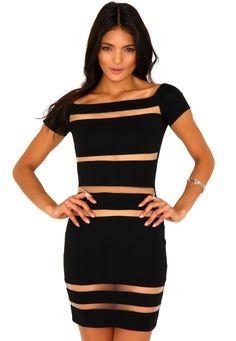 Marrieta Bardot Mesh Panel Bodycon Dress