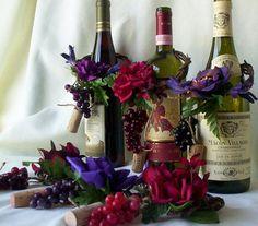 wine bottle centerpieces for wedding | Wedding Centerpieces AmoreBride Wine Bottle toppers set of 4 Purple ...