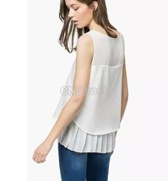 New Lady Women Fashion Sleeveless O-Neck White Pleated Casual Tank Tops