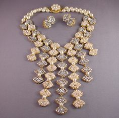 MIRIAM HASKELL huge bib necklace and pierced earrings from Morning Glory Jewelry. Buy now for $1,998.00