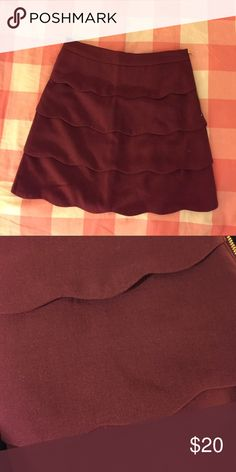 Scalloped ALine mini skirt Cute burgundy skirt perfect for any occasion work or play. Scalloped detailing makes you feel like a beautiful oyster, or at least that's how I felt when I wore it. Take care of my baby. H&M Skirts Mini