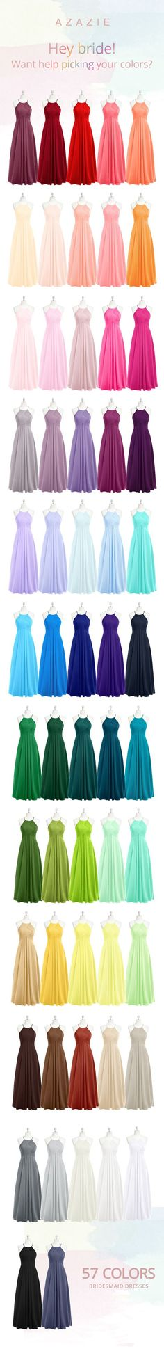 Several colors of bridesmaids dresses and gowns for your bridesmaid to wear as a wedding attendant and beyond. They are budget friendly for weddings, too! Bridesmaid gown colors.