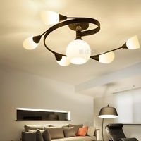Modern LED Glass 6Lights Ceiling Pendant Lamp Lighting Chandelier E27 Livingroom