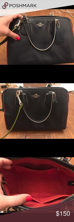 Coach Nolita Leather like new Beautiful Coach Bag, colored edges add a sharp contrast to the Nolita. Crafted in rich pebble leather. Top handles and a detachable long strap for hands free wear. Comes with original Coach dust bag. Coach Bags Crossbody Bags