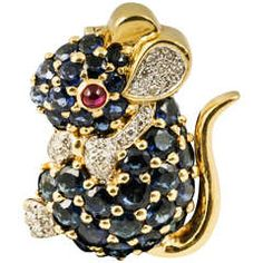 Sapphire Diamond Gold Mouse Brooch