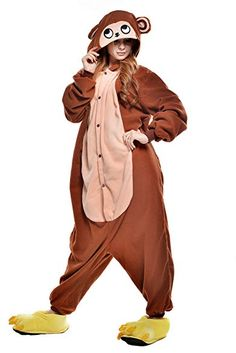 a9abaa674 NEWCOSPLAY Halloween Monkey Pajamas Homewear OnePiece Cosplay Costume  Lounge Wear Review Onesie Costumes, Monkey Costumes