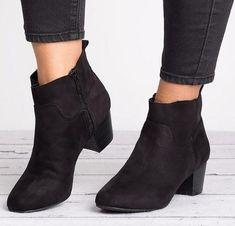 456cdb59d07 Fashion Coarse Heel Zipper Plain Boots
