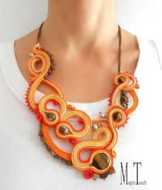 #jewelry #soutache #handmade #handmadejewelry #elegant #unique #madebyme #fashion #beads #handcrafted #pearls #crystals #etsyshop #glass #glassbeads #gems #dusk #necklace #nackre #fire #love #girl #glamorous #orange #brown #etsy #necklace #perfect #art #artistic
