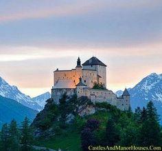 Chastè da Tarasp (Tarasp Castle),  Lower Engadin, Graubünden, Switzerland. Tarasp Castle (or in German, Schloss Tarasp) sits on a hill top near Tarasp. Located in the Romansh speaking area of Switzerland, it is a Swiss heritage site of national significance.