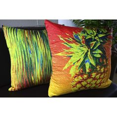 Streaky Pineapple Cushion. A colourful addition to any home. #pineapple #cushion #homewares #gifts #newhome #decorate #livingroom #bedroom #australiandesigns