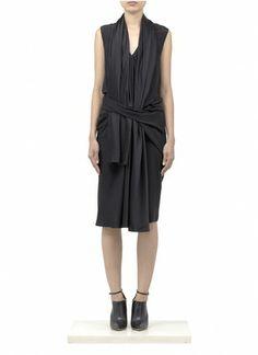 ALEXANDER WANG - Removable-scarf silk-satin dress - on SALE | Black Knee-length Dresses | Womenswear | Lane Crawford - Shop Designer Brands Online