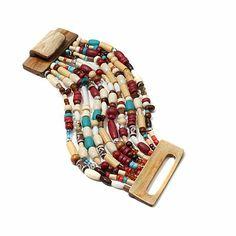 "BAJALIA ""Surama"" Multicolor Bead 10-Row Bracelet"